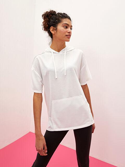 LCW ACTIVE Hooded Collar Plain Kangaroo Pocket Short Sleeve Women's Sports T-Shirt - LC WAIKIKI