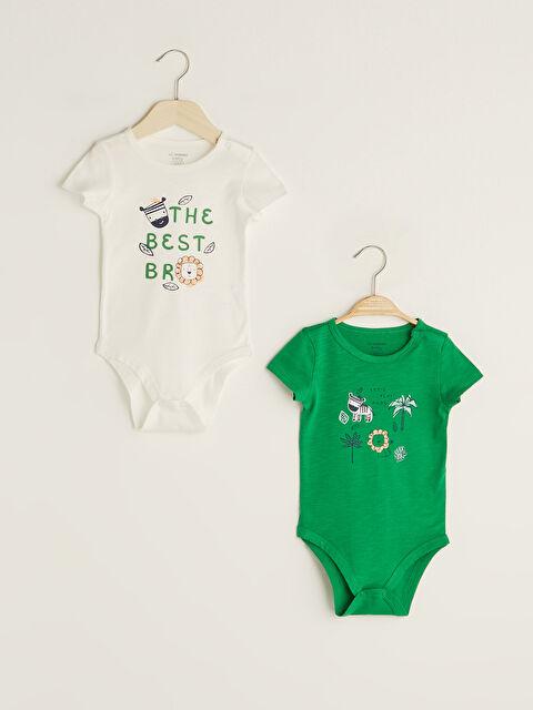 Crew Neck Short Sleeve Printed Cotton Unisex Baby Snapback Bodysuit 2 Pieces - LC WAIKIKI