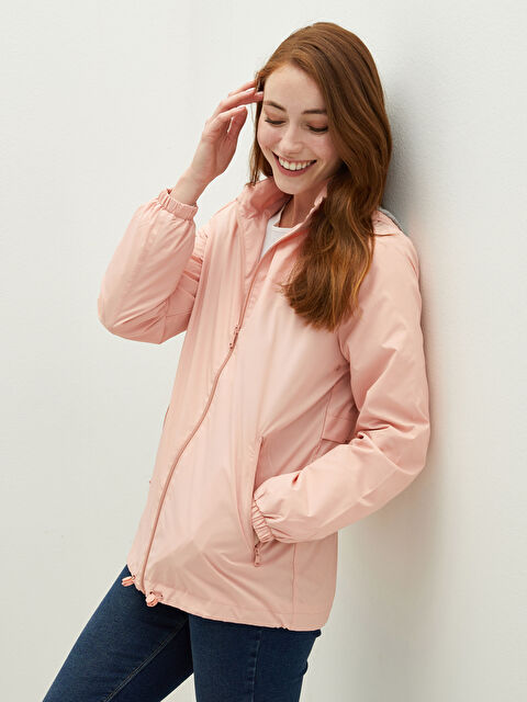 Hooded Collar Straight Long Sleeve Zipper Closure Women's Raincoat - LC WAIKIKI