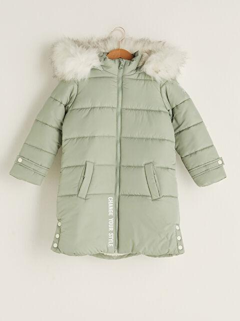 Hooded Printed Girls' Thick Coat - LC WAIKIKI