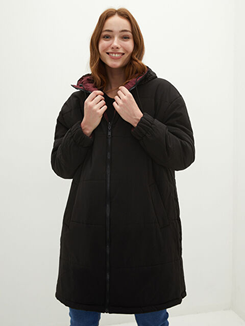 Hooded Collar Double Sided Pocket Detailed Long Sleeve Women's Raincoat - LC WAIKIKI
