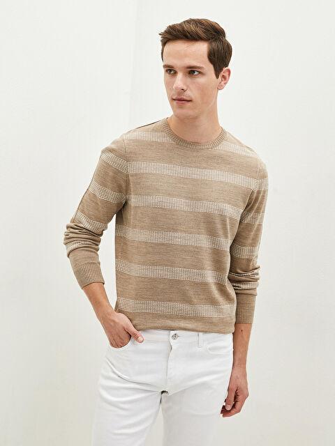 LCW CLASSIC Crew Neck Long Sleeve Striped Men's Knitwear Sweater - LC WAIKIKI