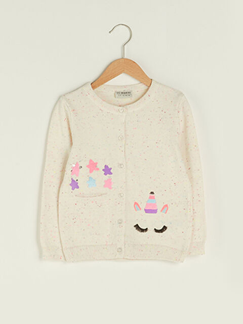 Crew Neck Pattern Long Sleeve Slim Knitwear Cardigan For Girl - LC WAIKIKI