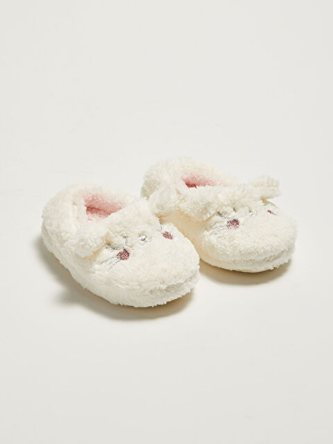 Embroidery Detailed Baby Girl Plush House Slippers - LC WAIKIKI