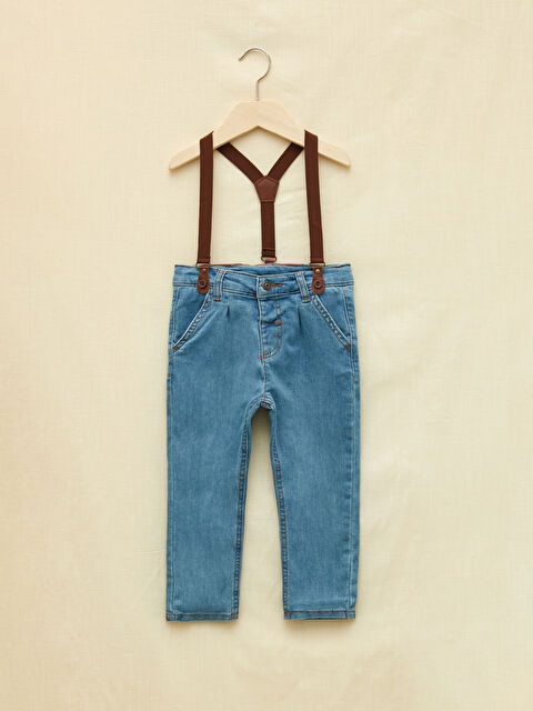 LCW GREEN Basic Baby Boy Jeans and Suspenders 2 Piece Set - LC WAIKIKI