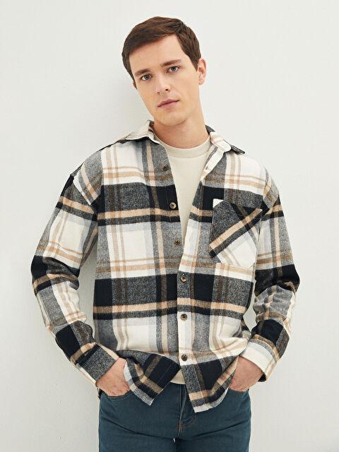 LCW CASUAL Oversize Long Sleeve Gabardine Plaid Men's Shirt Jacket - LC WAIKIKI