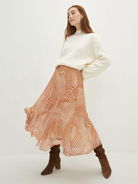 LCW CLASSIC Elastic Waist Patterned Chiffon Fabric Women's Pleated Skirt - LC WAIKIKI
