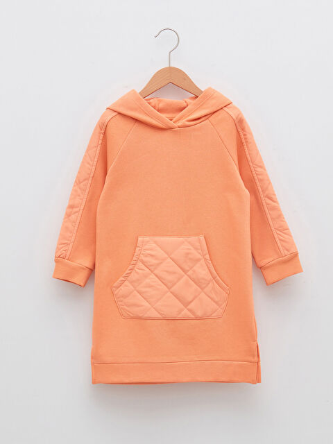Hooded Quilted Detailed Long Sleeve Girl Dress - LC WAIKIKI