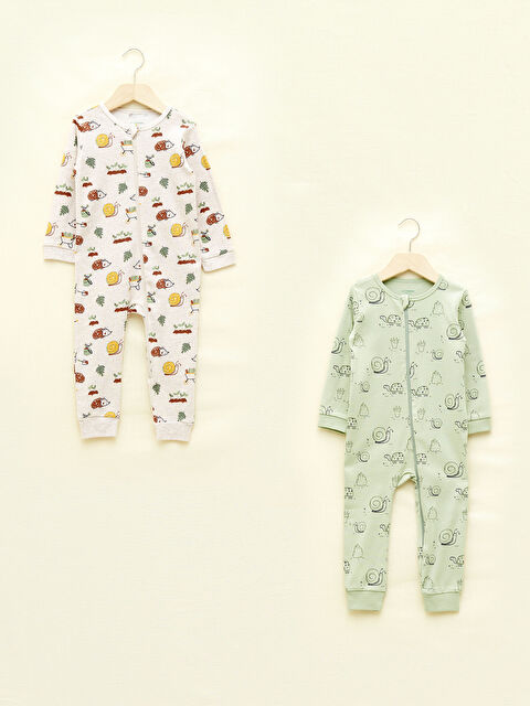 LCW GREEN Crew Neck Long Sleeve Printed Organic Cotton Baby Boy Rompers 2 Pack - LC WAIKIKI