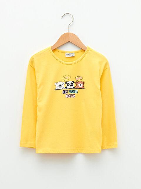 Crew Neck Printed Long Sleeve Cotton Girls T-Shirt - LC WAIKIKI