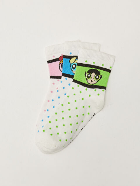 Powerpuff Girls Patterned Girl Socks 3-piece - LC WAIKIKI