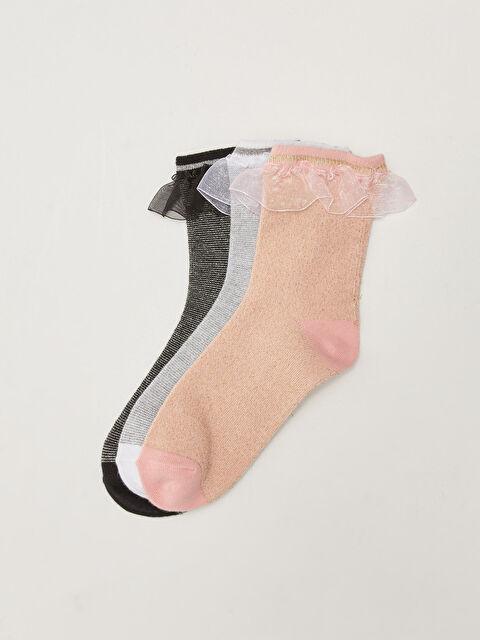 Glittering Tulle Detailed Girls' Socks 3 Pack - LC WAIKIKI