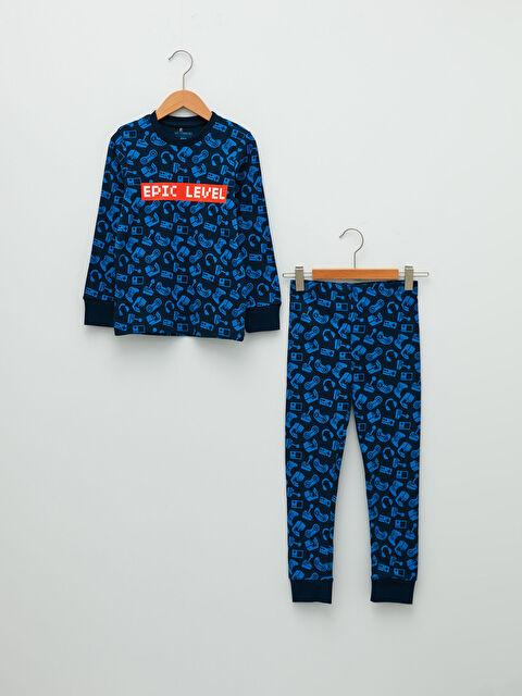 Пижама за момче с дълъг ръкав обло деколте и принт - LC WAIKIKI