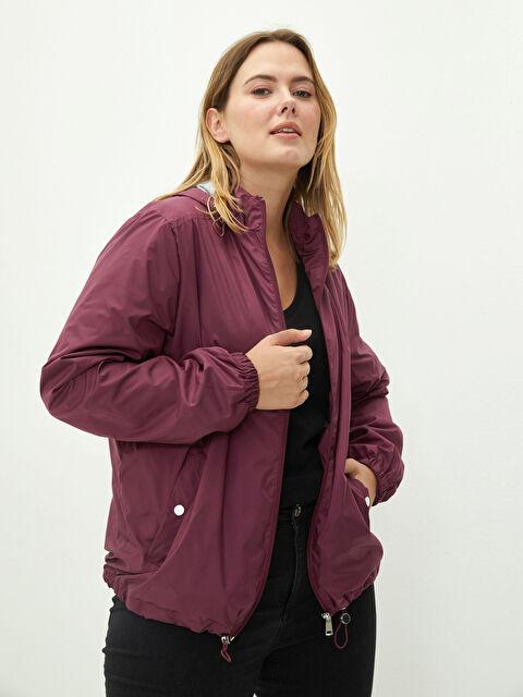 Hooded Collar Straight Long Sleeve Pocket Detailed Women's Raincoat - LC WAIKIKI