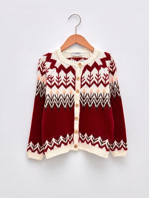 Crew Neck Patterned Long Sleeve Girls Knitwear Cardigan - LC WAIKIKI