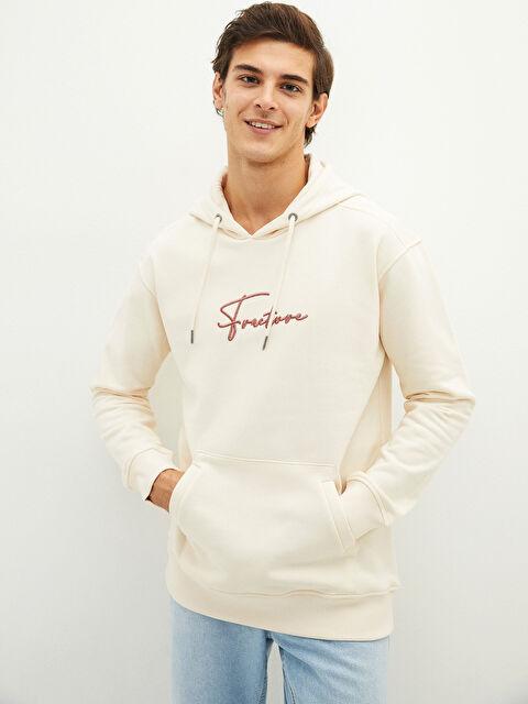 LCW CASUAL Hooded Long Sleeve Embroidered Men's Sweatshirt - LC WAIKIKI