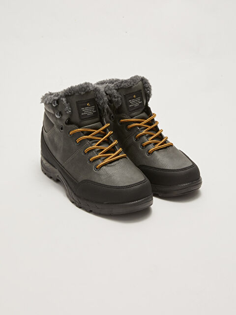 Shearling Lace-Up Men's Trekking Boots - LC WAIKIKI