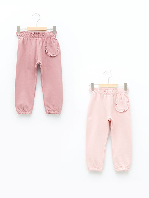 Elastic Waist Basic Baby Girl Cotton Tracksuit Bottom 2 Pieces - LC WAIKIKI