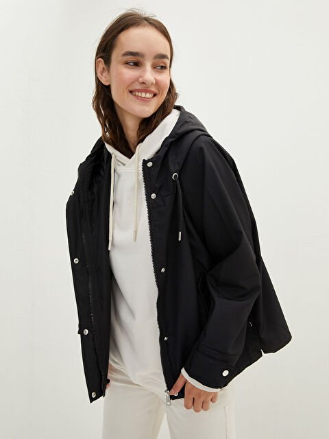LCW CASUAL Women's Raincoat with Hooded Straight Pocket Detailed Long Sleeve - LC WAIKIKI