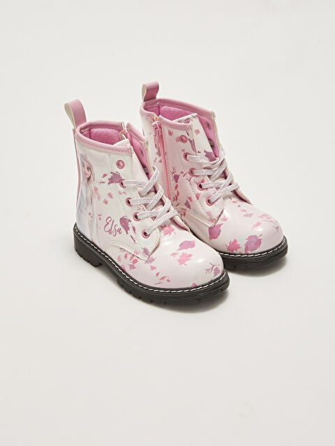 Frozen Licensed Lace-Up and Zippered Warm Lined Girls' Boots - LC WAIKIKI