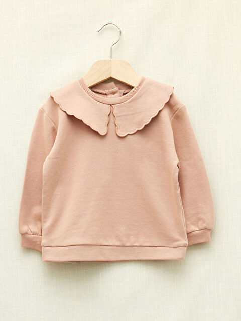 LCW GREEN Baby Collar Long Sleeve Basic Organic Cotton Baby Girl Sweatshirt - LC WAIKIKI