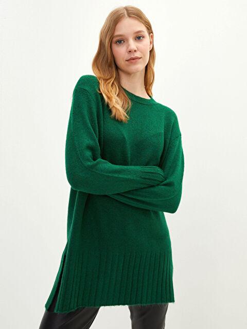 Lcw Casual Crew Neck Flat Long Sleeve Women's Knitwear Tunic - LC WAIKIKI