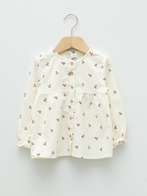 Crew Neck Long Sleeve Printed Velvet Baby Girl Shirt - LC WAIKIKI