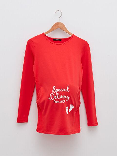 Crew Neck Slogan Printed Long Sleeve Maternity T-Shirt - LC WAIKIKI