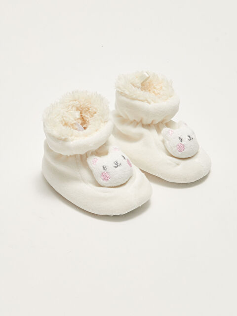 Embroidery Detailed Plush Baby Girl House Shoes - LC WAIKIKI