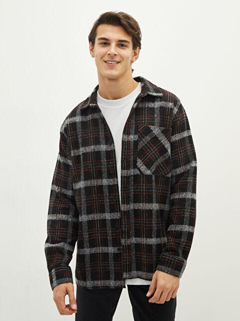LCW CASUAL Regular Fit Long Sleeve Plaid Gabardine Men Shirt Jacket - LC WAIKIKI