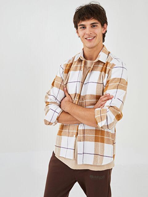 XSIDE Regular Fit Long Sleeve Plaid Men's Shirt Jacket - XSIDE