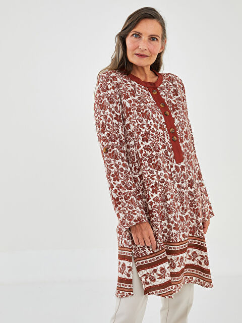 LCW GRACE High Collar Floral Long Sleeve Viscose Women's Tunic - LC WAIKIKI