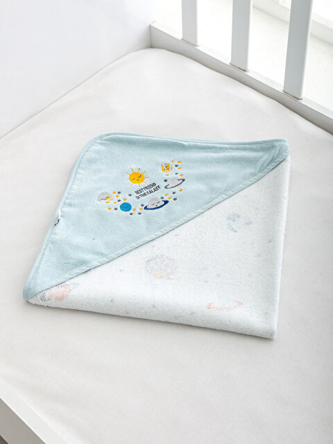 Erkek Bebek Nakışlı Kadife Banyo Havlusu - LCW HOME