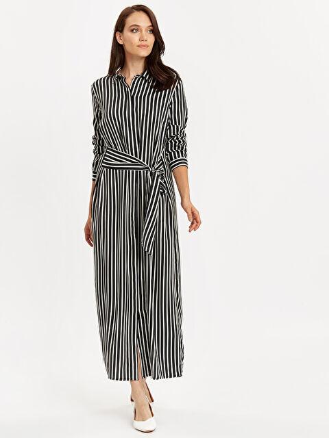 Kuşaklı Çizgili Gömlek Elbise - LC WAIKIKI