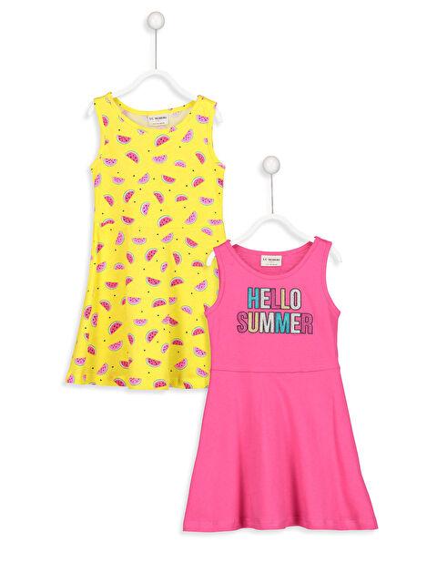 Baskılı Pamuklu Örme Elbise 2'li - LC WAIKIKI