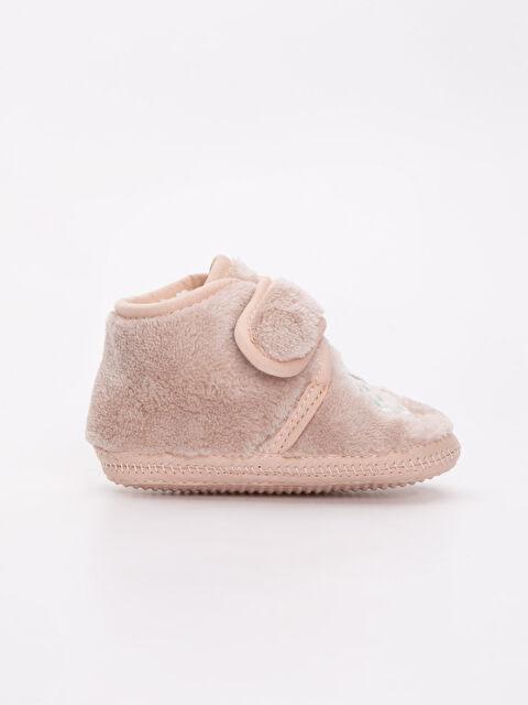 Kız Bebek Nakışlı Pelüş Ev Ayakkabısı - LC WAIKIKI