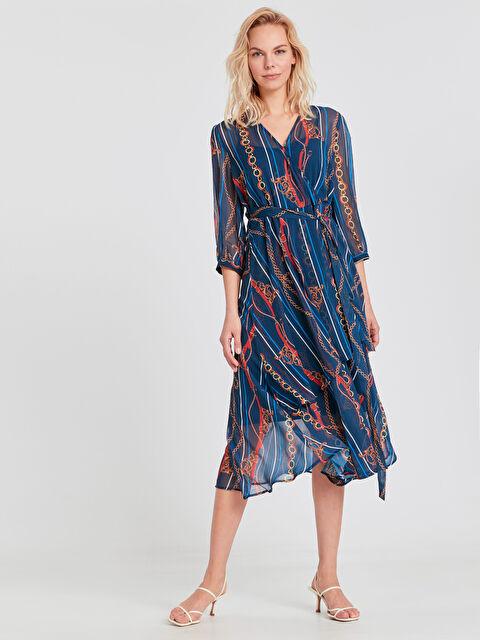 Zincir Desenli Şifon Elbise - LC WAIKIKI