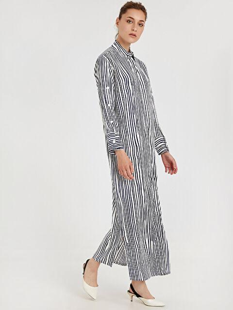 Çizgili Uzun Gömlek Elbise - LC WAIKIKI