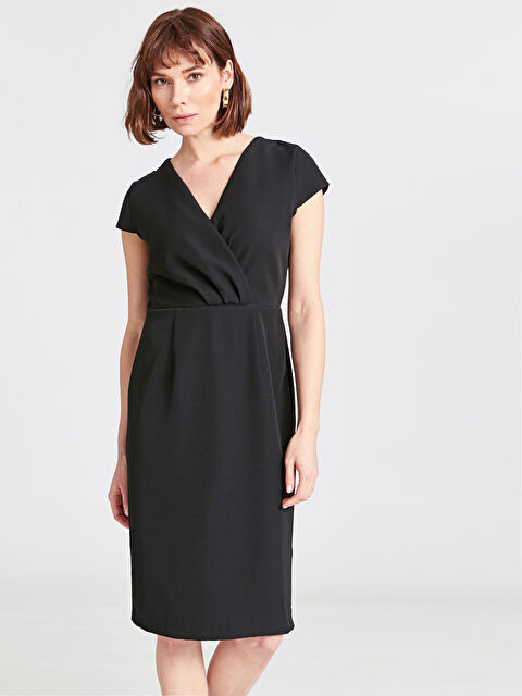Kruvaze Yaka Esnek Elbise - LC WAIKIKI