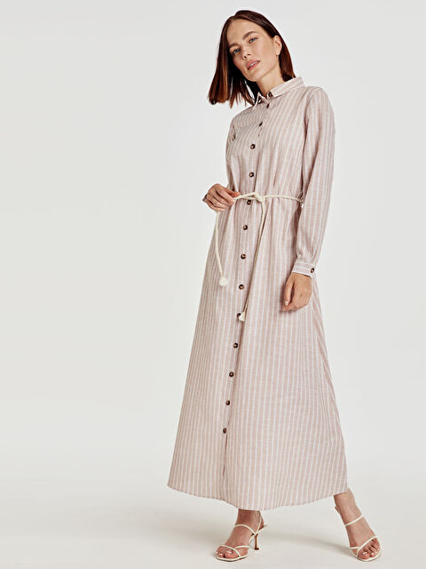 Kemerli Çizgili Uzun Gömlek Elbise - LC WAIKIKI