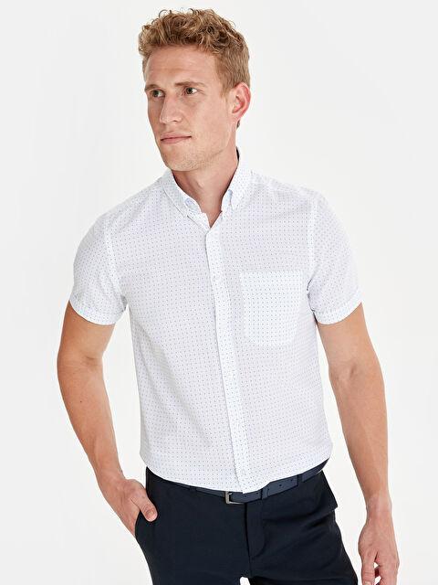 Slim Fit Baskılı Kısa Kollu Gömlek - LC WAIKIKI