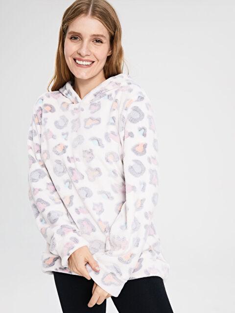 Desenli Kapüşonlu Pelüş Pijama Üst - LC WAIKIKI
