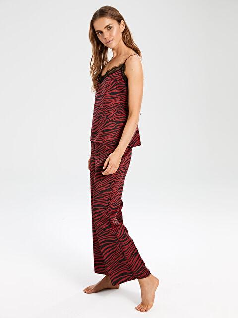 Zebra Desenli Yakası Dantelli Saten Pijama Takımı - LC WAIKIKI