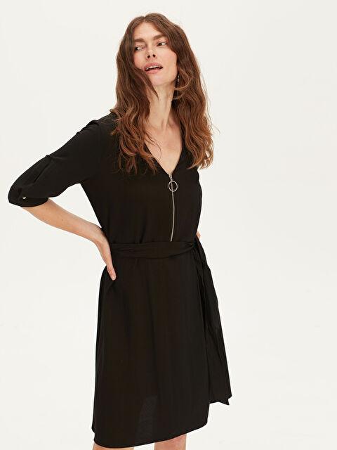 Yakası Fermuarlı Maroken Elbise - LC WAIKIKI