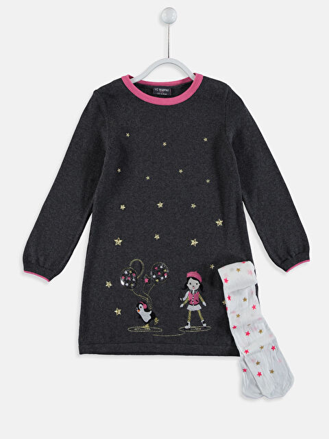 Kız Çocuk Aplikeli Triko Elbise ve Külotlu Çorap - LC WAIKIKI
