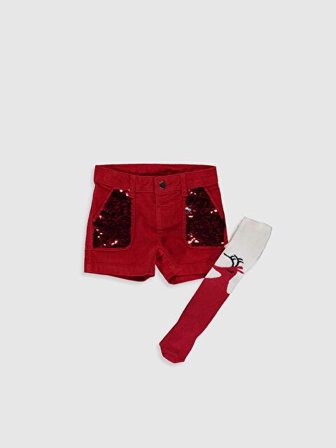 Kız Çocuk Kadife Şort ve Külotlu Çorap - LC WAIKIKI