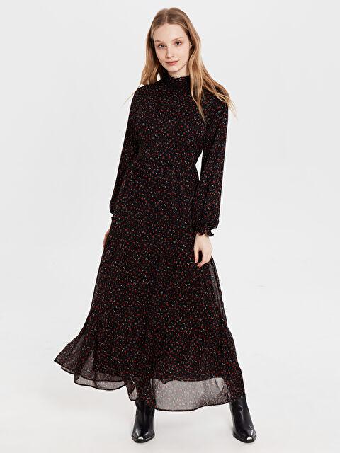 Çiçek Desenli Uzun Şifon Elbise - LC WAIKIKI