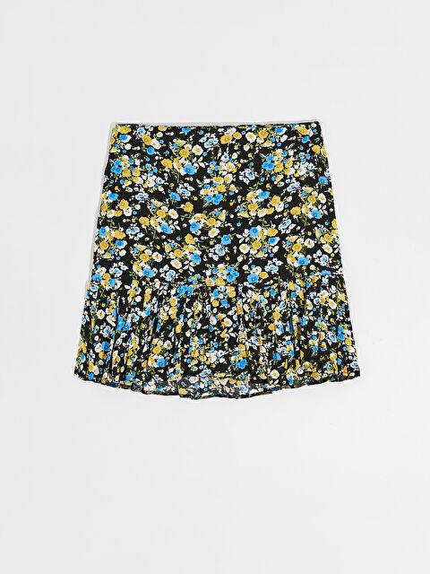Nisan Triko Çiçek Desenli Fırfır Detaylı Mini Etek - Markalar