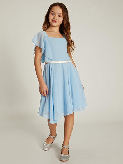 Kız Çocuk Volan Detaylı Şifon Elbise - LC WAIKIKI