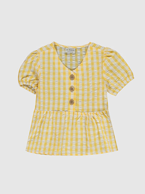 Kız Çocuk Düğme Detaylı Pamuklu Bluz - LC WAIKIKI